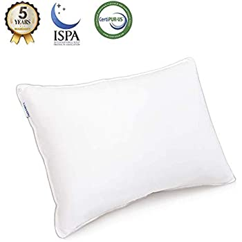 Lunvon Queen Adjustable Shredded Gel Memory Foam Home Bed Pillow for Sleeping Washable Cooling Hypoallergenic Cotton Cover Protector CertiPUR-US Certification for Your Health, White