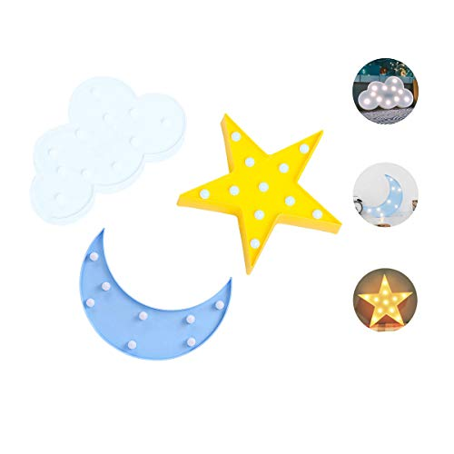 Night Lights for Kids,Decorative LED Crescent Moon, Star, Cloud Marquee Sign - Marquee Letters LED Lights - Nursery Night Lamp GIFT for Children (Star,Moon, Cloud) by LUCKIEY