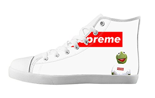 Men's Lace-up Canvas Shoes White Soft Sole High Top Sneakers Cute Supreme iMonster-11M(US)