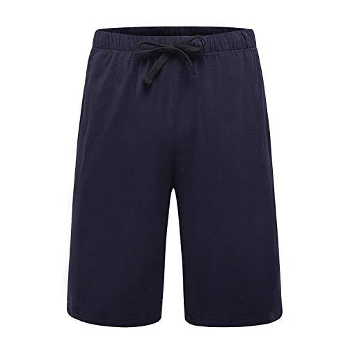 OThread & Co. Men's Cotton Pajama Shorts Loose Lounge Shorts Soft Sleepwear Pants (Large, Navy) by OThread & Co.