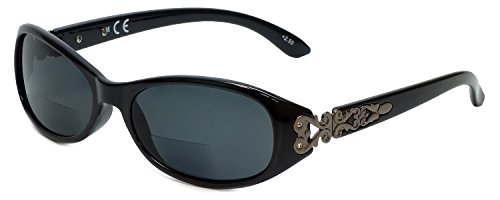 Corinne McCormack Designer Bi-Focal Reading Sunglasses Kathy in Black +2.50 by Corinne McCormack