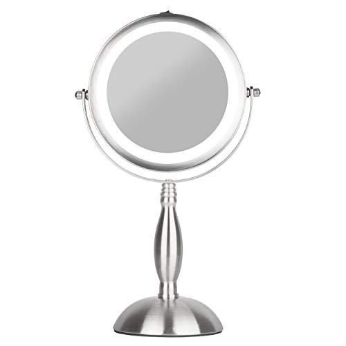 S.H.E. Makeup Mirror – Lighted Vanity Mirror – Natural White 18 Led Bulbs – Free-standing cosmetic mirror, Cordless, Battery-powered – Double sided x1/x7 magnification – 360 rotation round face mirror