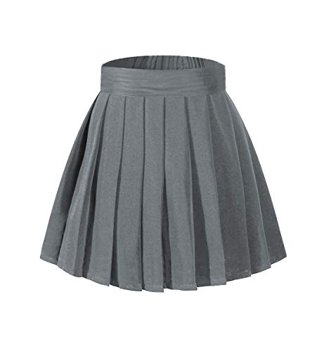 (Beautifulfashionlife Girl's Pleated Mid Bubble Tutu Skirt Fancy up Costumes Dark Grey,M)