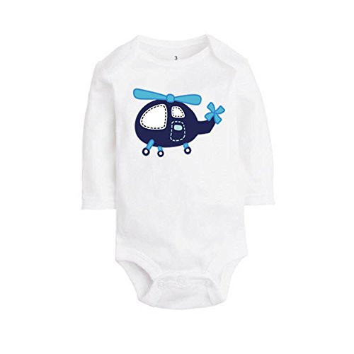 ALLAIBB Baby Boy Girl Romper Cartoon Animals and Vehicle Patterns Size 3M (Helicopter) (Onesie Helicopter)