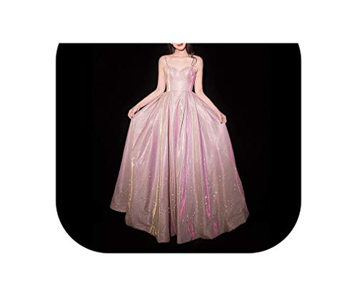 (Evening Dress Sexy Purple Formal Dresses Bling Star Shining Strapless Long Party,Pink,16W)