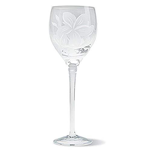 OKSLO 4 plumeria etched wine glasses