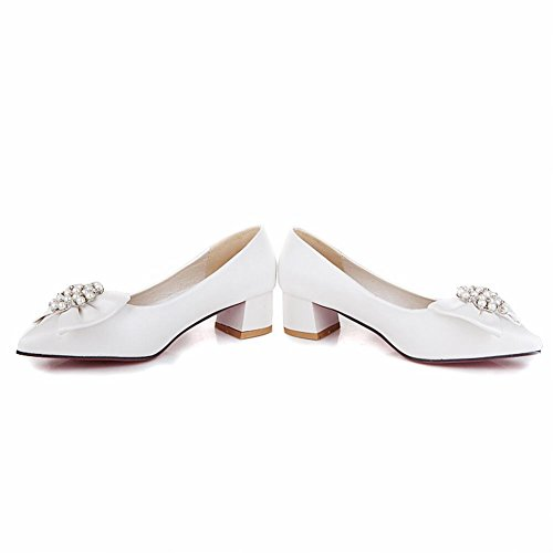 Charm Foot Sweet Bows Womens Mid Chunky Heel Pumps Shoes White CQCvjY