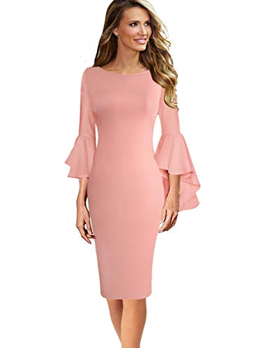 (VFSHOW Womens Ruffle Bell Sleeves Business Cocktail Party Sheath Dress 1708 PIK XL Peach Pink)