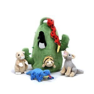 Plush Cactus Desert Animal House with Animals - Six (6) Stuffed Desert Animals (Snake, Lizard, Armadillo, Coyote, Prairie Dog, Roadrunner) in Play Cactus Carrying House by Unipak