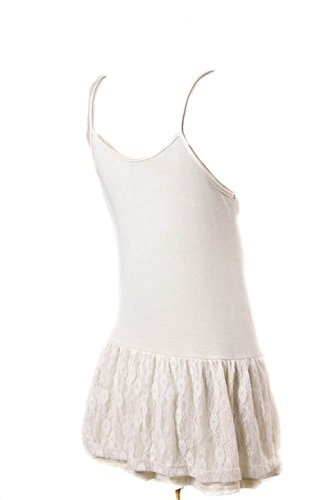 Ruffled Lace Bottom (Eikosi Women's Cami Top Extender with Ruffled Rosie Lace BottomNatural)