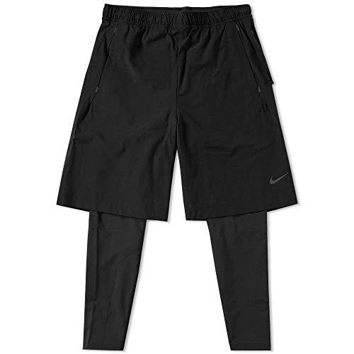 (NikeLab Essentials Hybrid Men's 2-in-1 Training Tights (Large, Black))