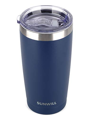 SUNWILL 20oz Tumbler with Lid, Stainless Steel Vacuum Insulated Double Wall Travel Tumbler, Durable Insulated Coffee Mug, Powder Coated Navy, Thermal Cup with Splash Proof Sliding - Travel Mug Coffee Ounce 20