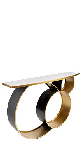 Statements by J JQ19532DS Blake Marble Top Console Table, 47.25 Inch Long, Gold, White & Black