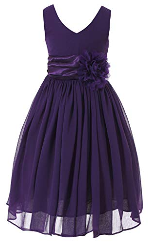 (Bow Dream Flower Girl Dress Junior Bridesmaids V-Neckline Chiffon Purple 8)