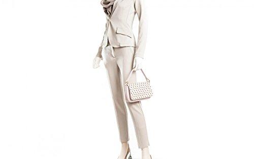 Alessia - Borsa da donna in vera pelle a spalla, mano o tracolla regolabile - Pochette color rosa antico con borchie - Made in Italy