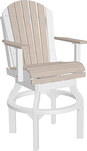 - Furniture Barn USA Set of 2 Outdoor Adirondack Swivel Chairs - Bar Height - Birch and White Poly Lumber - Recycled Plastic