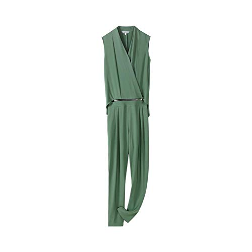 dabuwawa Women's Elegant Detachable Jumpsuits Summer Casual Solid Color Full Length Playsuits (S) Green from dabuwawa