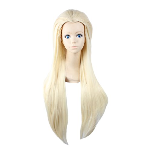 [Angelaicos Unisex Straight Styled Party Costume Cosplay Wigs Long Light Blonde] (Legolas Wig)