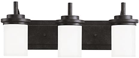 Sea Gull Lighting 44662-839 Winnetka Three-Light Bath or Wall Light Fixture with Satin Etched Glass Shades, Blacksmith Finish