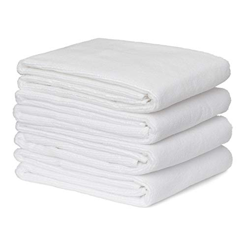 White Salon Hand Towels 4 Pack – 100% Microfiber, Maximum Absorbency, Super Soft, Ultra Plush – For Hair Drying, Face…