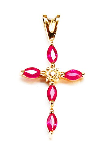 JewelMode 14K Yellow Gold Ruby and Diamond Cross Shaped Pendant