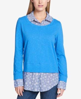 Tommy Hilfiger Womens Layered Collared Blouse Blue -