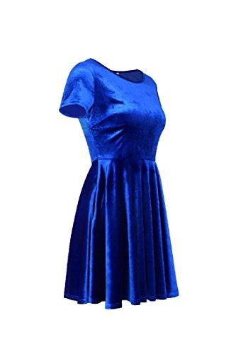 Swing Line Elegant Dress Women Big Sleeve Coolred Party Dark Blue Mini Short Solid xvI5Xwwq