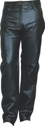 - Ladies Jean Style Black Leather Five Pocket Pants