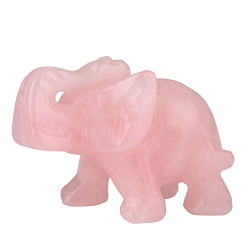 BigFamily Elephant Ornaments Jade Crafts Jade Exquisite Stone Carving Hand-Carved Ornaments Home Decoration (Pink)