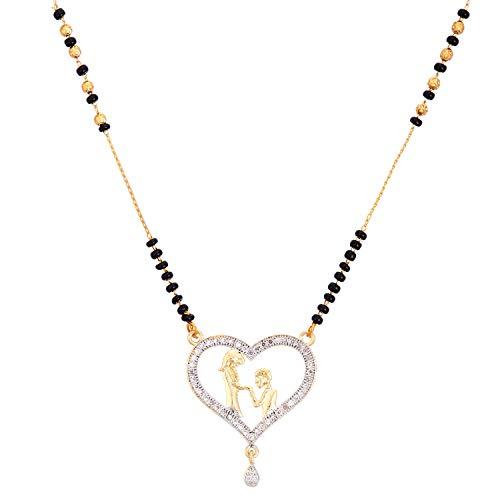 Zeneme Women's Pride Designer Gold Plated Mangalsutra Style Heart Sharped Pendant Jewellery For Women