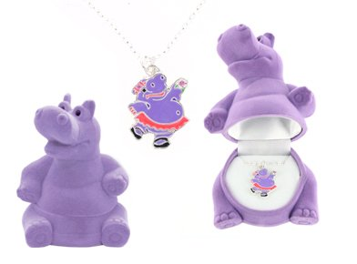 Hippopotamus Crystal Necklace In Purple Hippo Gift Box - Hippo ...