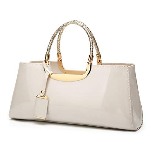 JAGENIE Fashion Patent Leather Structured Shoulder Handbag Women Evening Party Satchel Crossbody Top Handle Bags