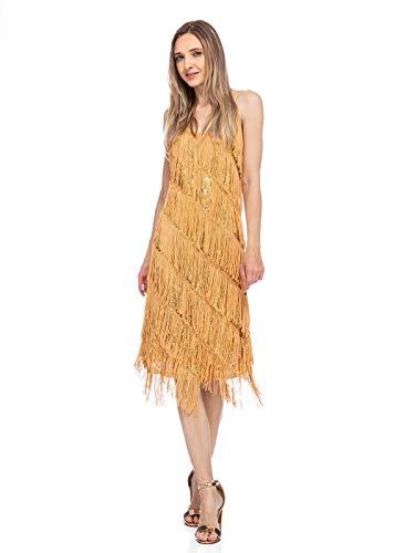 Tina Turner Halloween Costume (Anna-Kaci Womens Fringe Sequin Strap Backless 1920s Flapper Party Mini)