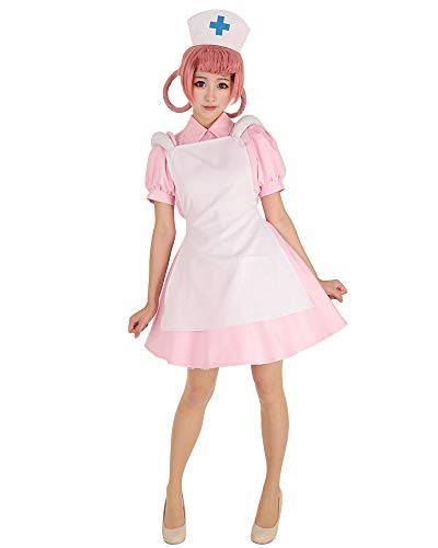 Cosplay.fm Women's Nurse Joy Cosplay Costume Outfit Pink Dress with Hat -