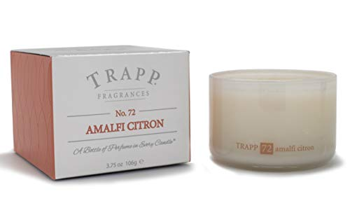 Trapp Ambiance Collection Poured Scented Candle, 3.75 Ounces - No. 72 Amalfi Citron - Fresh Floral Scented Round Pillar