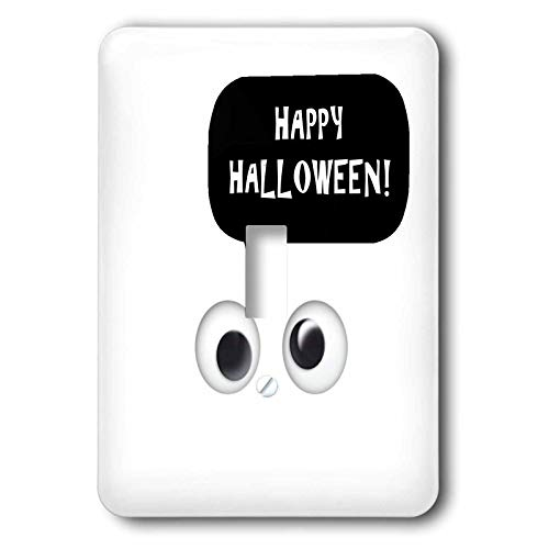 3dRose InspirationzStore - Occasions - Happy Halloween - cute white spooky cartoon ghost eyes talking object - double toggle switch -