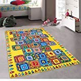 CR's Kids / Daycare / Classroom / Playroom Area Rug. Alphabet. Numbers. Blocks. (A-Z AND 1-9). Educational. Fun. Non-Slip Gel Back. Play Mat. Bright Colorful Vibrant Colors (5 Feet X 7 Feet)