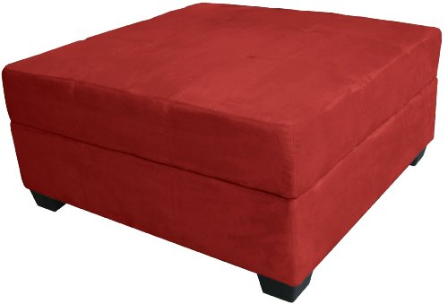 Epic Furnishings 36-Inch Large Square Storage Ottoman/Bench, Suede Cardinal Red