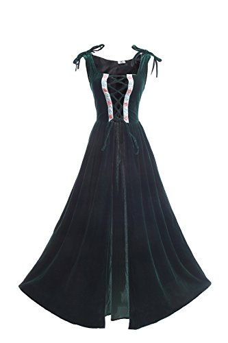 ROLECOS Womens Renaissance Irish Overdress Medieval Over Dress Pirate Costume Green XXL/3XL ()