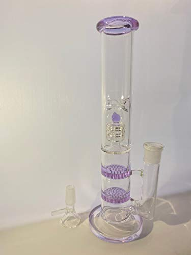 QFG Pink Purple Dot Glass Vase Decorative Pipe