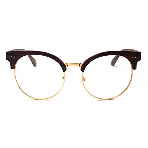 OVERSIZED Large Clubmaster Style Wood Bamboo Print Metal Clear Lens Glasses - Large Glasses Clubmaster