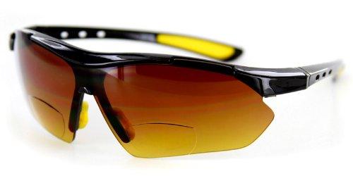 Daredevil Mens Fashion Bifocal Reader Sunglasses Wrap-Around Sports and Anti-Glare (Black + Yellow w/ Amber +1.00)