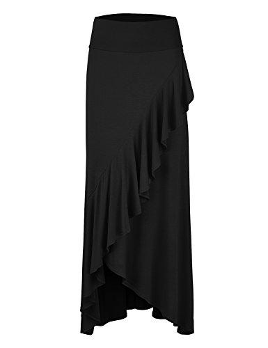 LL WB1356 Womens Wrapped High Low Ruffle Maxi Skirt M (Make Ruffle Skirt)