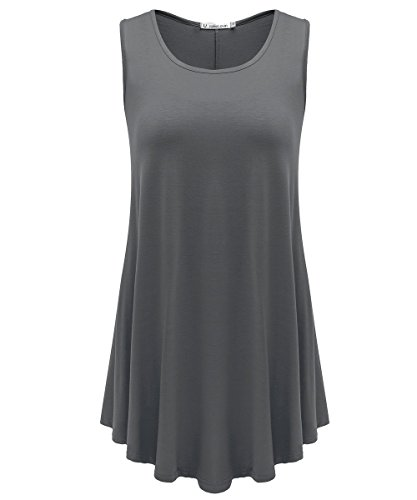 JollieLovin Womens Sleeveless Comfy Plus Size Tunic Tank Top with Flare Hem - Deep Gray, M ()