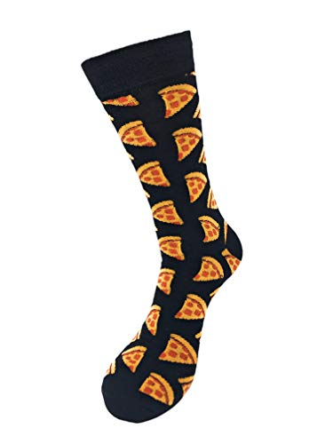 Urban Peacock Men's Novelty Fun Crew Socks - Multiple Patterns & Multi-Pair Options (Pepperoni Pizza - Black, 2 Pair)