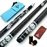 CUESOUL 57 inch 19oz 1/2 Maple Pool Cue Stick Kit- Rock The World Stylish Pattern Cue Design in Black Paint