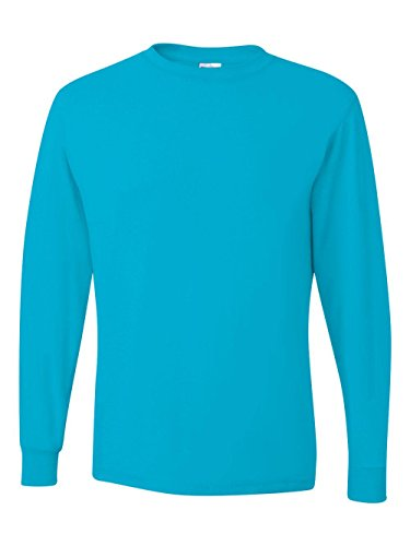 Jersey Blu Ribbed (Jerzees Men's Heavyweight Blend 50/50 Long Sleeve T-Shirt (California Blue, Large))