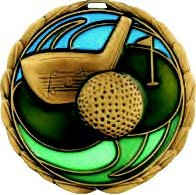 Gold Golf Die Cast Medal - 2.5 Inches - Includes Red, White & Blue V-neck Ribbon