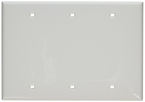 Leviton 80735-W 3-Gang No Device Blank Wallplate, Standard Size, Thermoplastic Nylon, Box Mount, White (Nylon Box)