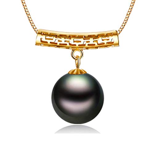 Fashion Jewelry@ Women Black Pearl 18 Kt / 750 Yellow Gold Columnar Tahitian South Sea 10-11mm Pearl Pendant 45cm 925 Sterling Silver Chain for Wife Mom Daughter